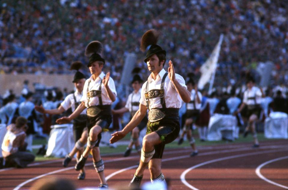 <p>One tradition of the opening ceremony is to showcase the culture of the host country, which is precisely what Germany did when they incorporated dancers dressed in lederhosen at the 1972 Summer Olympic Games. </p>