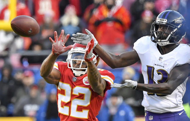<p>Kansas City Chiefs defensive back Orlando Scandrick breaks up a pass to Baltimore Ravens wide receiver John Brown to bring up fourth down in overtime on Sunday, Dec. 9, 2018 at Arrowhead Stadium in Kansas City, Mo. The Chiefs won, 27-24. (John Sleezer/Kansas City Star/TNS) </p>