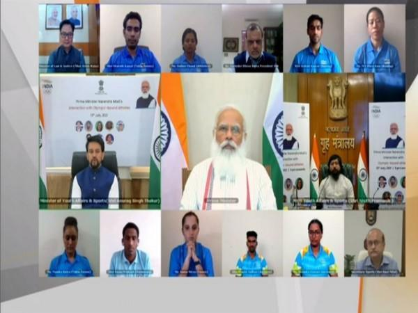 Prime Minister Narendra Modi interacts with athletes ahead of Olympics.