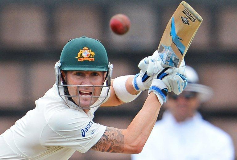 Australian skipper Michael Clarke plays a shot off the Sri Lankan bowling on December 14, 2012