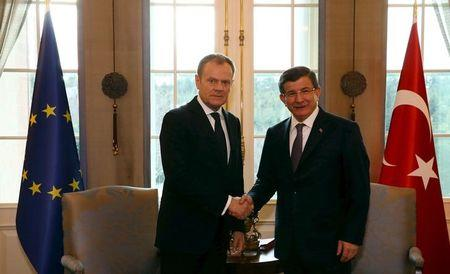 Handout photo of Turkish Prime Minister Davutoglu meeting with European Council President Tusk in Ankara