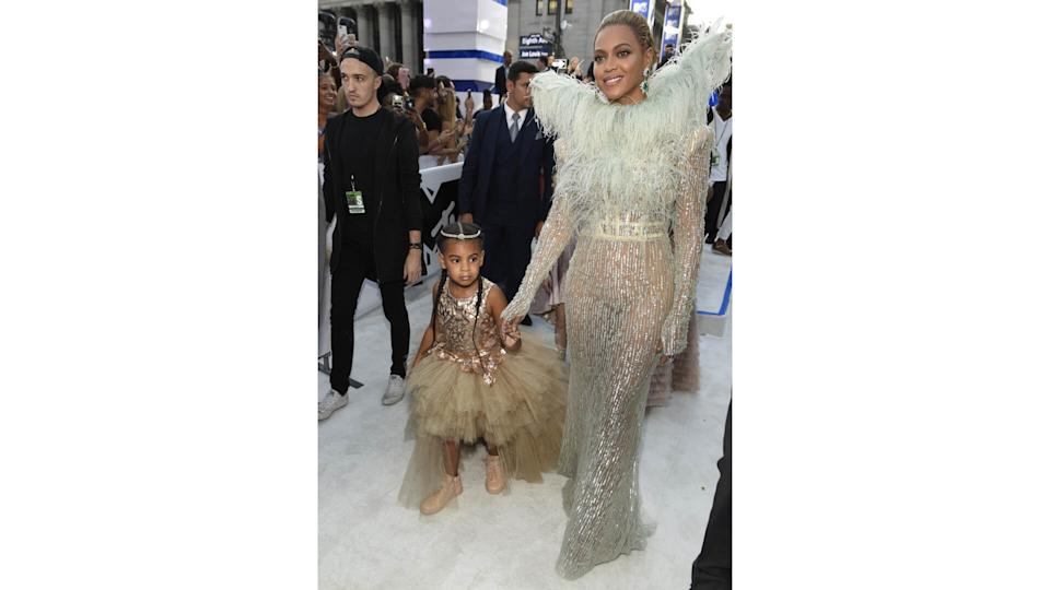 Mandatory Credit: Photo by Chris Pizzello/Invision/AP/REX/Shutterstock (9192173av)Beyonce, right, and Blue Ivy arrive at the MTV Video Music Awards at Madison Square Garden, in New York2016 MTV Video Music Awards - Red Carpet, New York, USA - 28 Aug 2016.