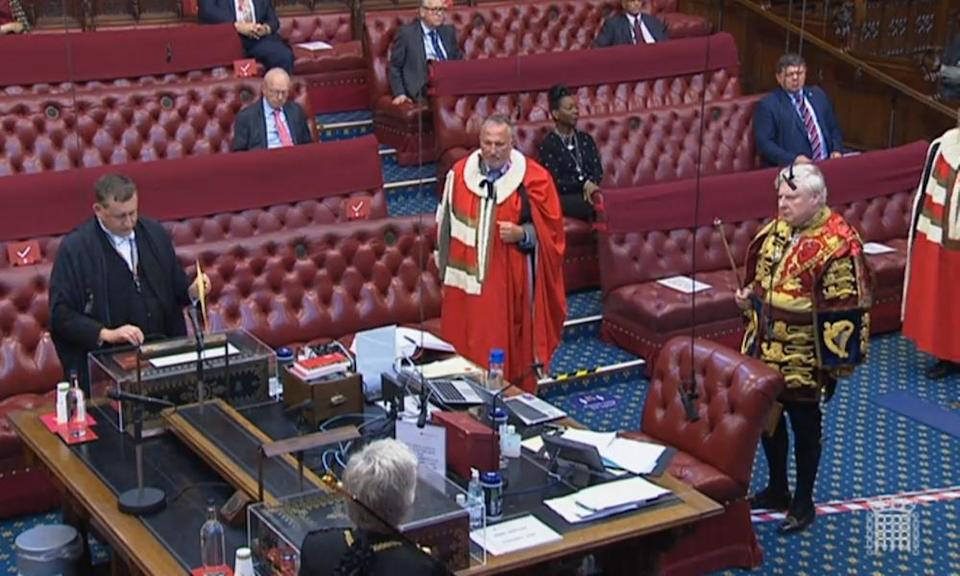 Baron Botham of Ravensworth takes his seat in the House of Lords in October 2020.