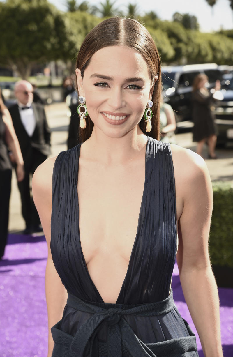 EXCLUSIVE - Emilia Clarke arrives at the 71st Primetime Emmy Awards on Sunday, Sept. 22, 2019, at the Microsoft Theater in Los Angeles. (Photo by Dan Steinberg/Invision for the Television Academy/AP Images)