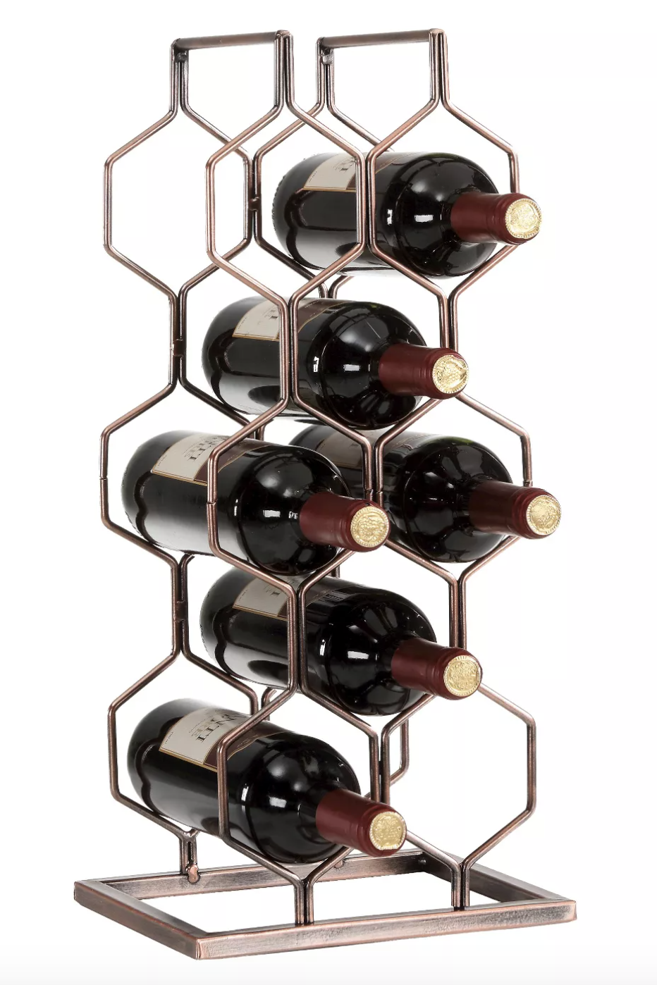 "<p><strong>Danya B.</strong></p><p>target.com</p><p><a href=""https://www.target.com/p/danya-b-8-bottle-electroplated-wine-rack-copper/-/A-51107858"" rel=""nofollow noopener"" target=""_blank"" data-ylk=""slk:CHECK PRICE"" class=""link rapid-noclick-resp"">CHECK PRICE</a></p><p>This hexagon geometric wine rack holds eight bottles and is great for countertops and tables with little space since it stores bottles in a vertical structure. The rack is made of iron and measures 20""H x 9.5""W x 7.75""D. </p>"