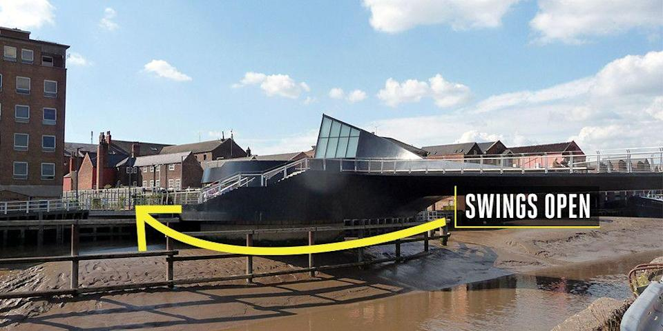 "<p><strong>Hull, England</strong></p><p>Pedestrians can have some fun in Hull, England, with a swinging pedestrian bridge in what some call the shape of an apostrophe. Designed by McDowell+Benedetti and opened in 2013, the black steel bridge serves as a <a href=""http://www.hull.gov.uk/travel-and-tourism/attractions-and-entertainment/scale-lane-swing-bridge#:~:text=The%20footbridge&text=The%20Scale%20Lane%20swing%20bridge,it%20as%20it%20swings%20open."" rel=""nofollow noopener"" target=""_blank"" data-ylk=""slk:crossing of the River Hull"" class=""link rapid-noclick-resp"">crossing of the River Hull</a>, but opens to river traffic in an impressive swinging motion.</p>"