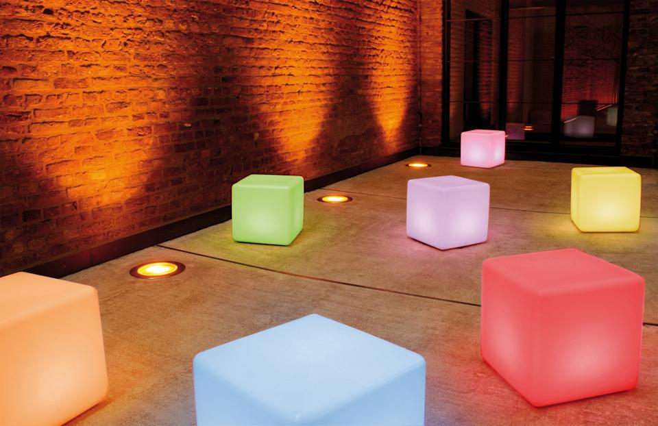 patio lighting ideas: Multi Coloured Outdoor LED Cube Table by Moree