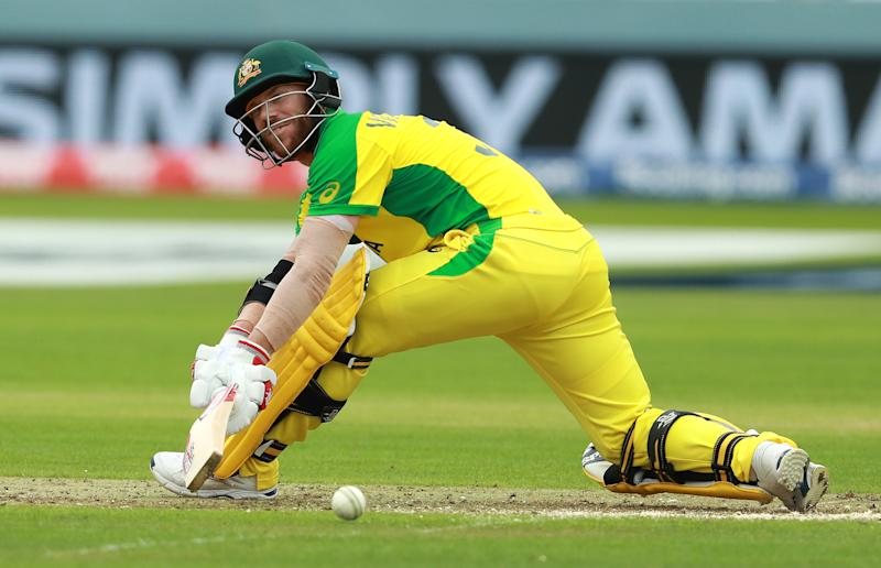 David Warner pulls the ball for four runs. (Credit: Getty Images)