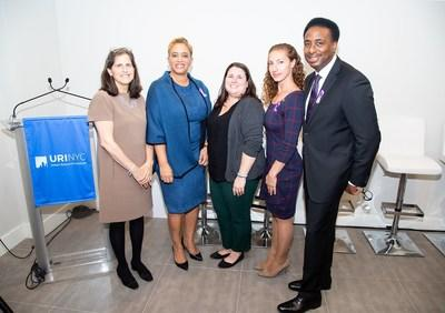 Panelists (from left to right) Council Member Helen Rosenthal, Dr. Carla Smith, Summer Dolder, Adrienne Giunta, and Nathaniel Fields, discuss cross-sector community collaboration to address domestic violence in the Bronx.