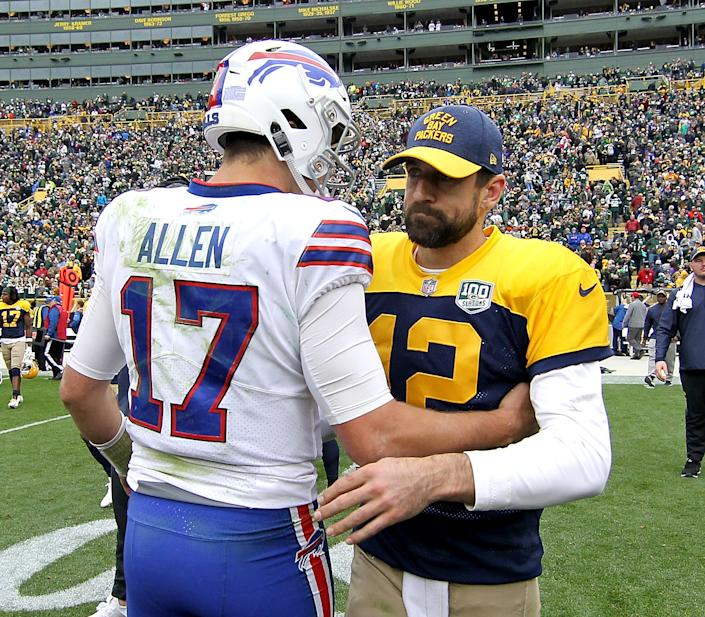Aaron Rodgers is great, can Josh Allen reach that level? We'll see both Saturday on Yahoo Sports app