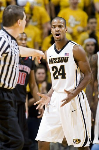 Missouri's Kim English (24) reacts to being called for a foul during the second half of an NCAA college basketball game against Texas Tech, Saturday, Jan. 28, 2012, in Columbia, Mo. Missouri won 63-50. (AP Photo/L.G. Patterson)