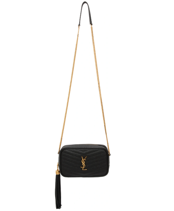Saint Laurent Black Mini Lou Chain Bag. Image via SSENSE.