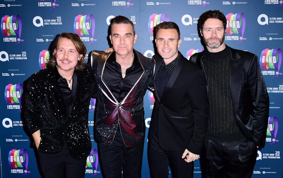 Mark Owen, Robbie Williams, Gary Barlow and Howard Donald of Take That attending 'The Band', in association with the Elton John AIDs Foundation. (Photo by Ian West/PA Images via Getty Images)