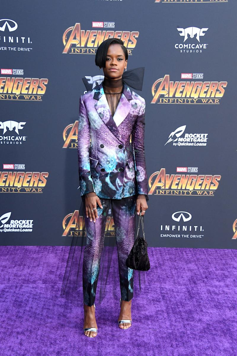 "Letitia Wright attends the ""Avengers: Infinity War"" premiere."
