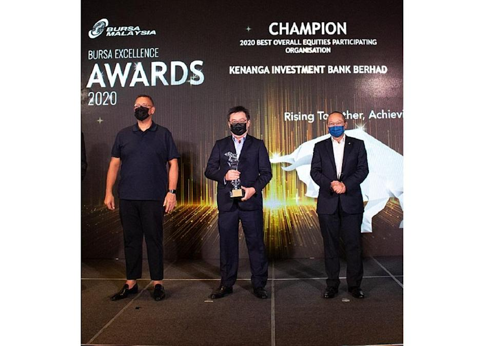 Kenanga Investment Bank Berhad received recognition in seven different areas during the Bursa Excellence Awards. — Picture courtesy of Kenanga