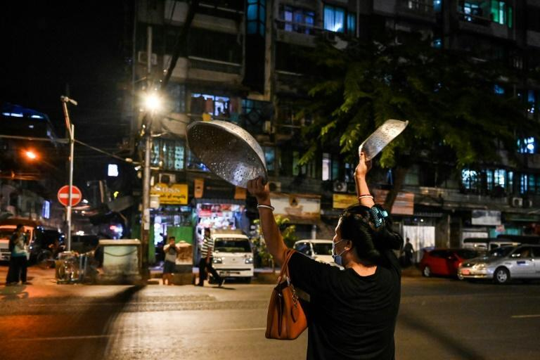 Across Myanmar, people have chanted and drummed pots and pans in a night chorus of dissent against military rule