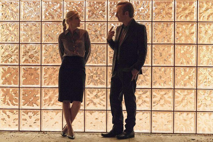 Rhea Seehorn as Kim Wexler, Bob Odenkirk as Jimmy McGill on AMC's Better Call Saul. (Photo: Michele K. Short/AMC)