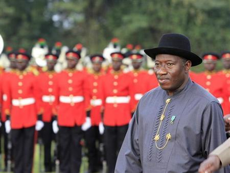 Nigeria's President Goodluck Jonathan inspects a military parade in his honour on arrival for bilateral talks at State House in Nairobi