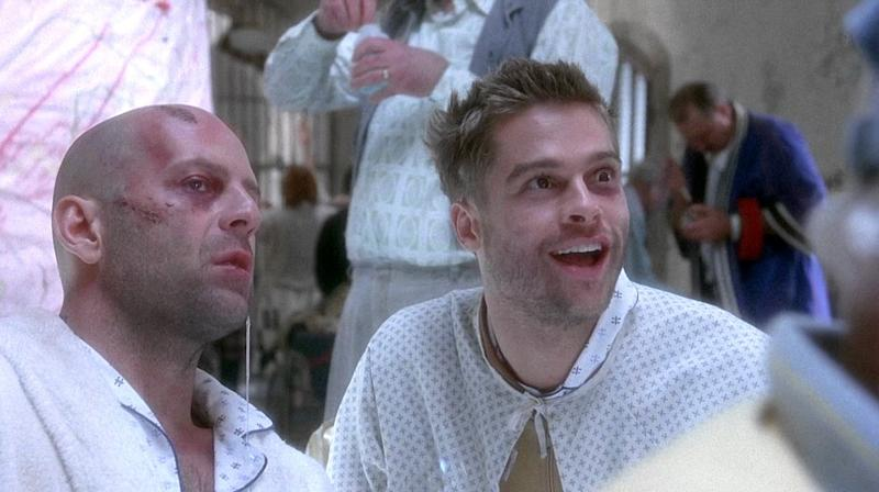 Brad Pitt in Twelve Monkeys with Bruce Willis