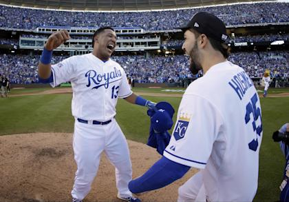Salvador Perez and Eric Hosmer celebrate after the Royals advanced to the World Series. (AP)