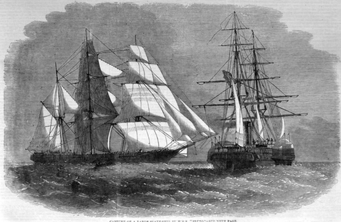 """<span class=""""caption"""">The capture of a slave ship by the Royal Navy in 1859, from which 847 enslaved Africans were released.</span> <span class=""""attribution""""><span class=""""source"""">Illustrated London News</span></span>"""