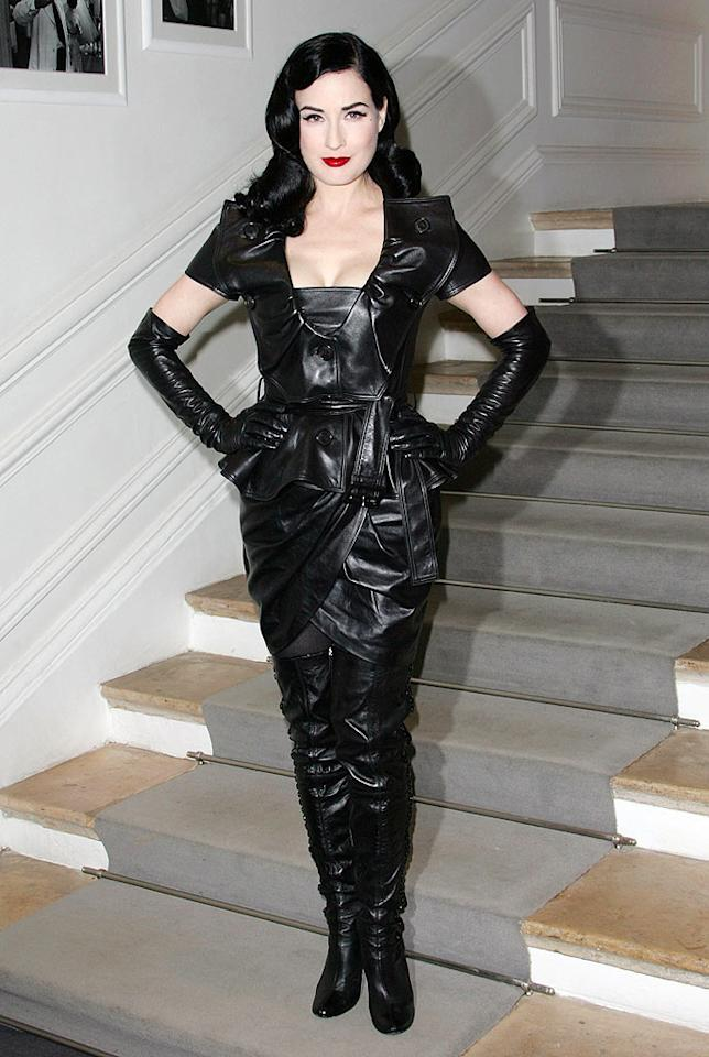 "Love or hate her sense of style, there's no denying Dita Von Teese's uniqueness. What do you make of her leathery Christian Dior ensemble? Hot or not? Tony Barson/<a href=""http://www.wireimage.com"" target=""new"">WireImage.com</a> - January 25, 2010"