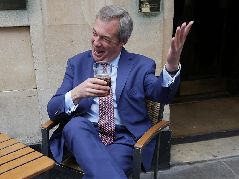 Former Ukip leader Nigel Farage celebrates the triggering of Article 50: Getty Images
