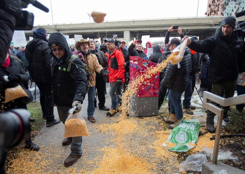 Farmers dump bags of corn grain in front of the Papineau riding office of PM Trudeau, as they protest the lack of propane due to the CN Rail strike in Montreal