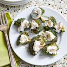 """<p>Za'atar spice coats broccoli florets that crisp up under the broiler. A dollop of yogurt adds a creamy finish. Serve as an easy side paired with grilled kebabs or a light appetizer. <a href=""""https://www.eatingwell.com/recipe/7897269/crispy-smashed-broccoli-with-zaatar/"""" rel=""""nofollow noopener"""" target=""""_blank"""" data-ylk=""""slk:View recipe"""" class=""""link rapid-noclick-resp""""> View recipe </a></p>"""