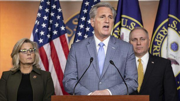 PHOTO: House Minority Leader Rep. Kevin McCarthy speaks during a press conference with Republican Conference Chairman Rep. Liz Cheney and Republican Whip Rep. Steve Scalise at the Capitol, Dec. 17, 2019.  (Samuel Corum/Getty Images)