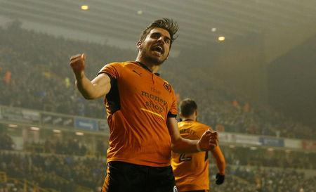 Soccer Football - Championship - Wolverhampton Wanderers vs Derby County - Molineux Stadium, Wolverhampton, Britain - April 11, 2018 Wolves' Ruben Neves celebrates scoring their second goal Action Images/Andrew Boyers
