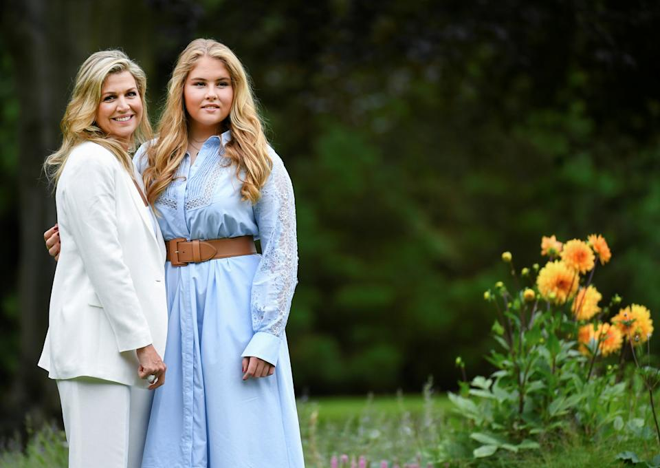 Queen Maxima and Princess Amalia of the Dutch Royal family pose during an official photo session in The Hague, Netherlands July 17, 2020. REUTERS/Piroschka van de Wouw/Pool