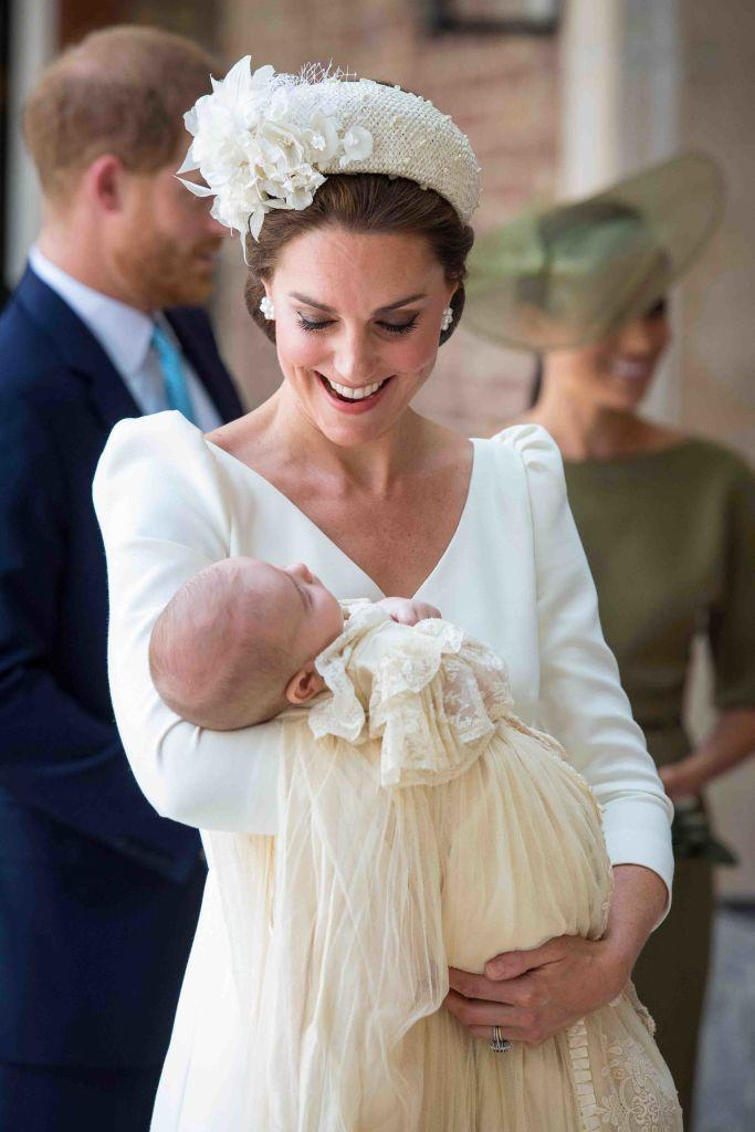 """<p>The <a href=""""https://www.townandcountrymag.com/style/fashion-trends/a22026551/kate-middleton-dress-prince-louis-christening-photos/"""" rel=""""nofollow noopener"""" target=""""_blank"""" data-ylk=""""slk:Duchess of Cambridge wore"""" class=""""link rapid-noclick-resp"""">Duchess of Cambridge wore</a> an all white Alexander McQueen dress to celebrate the christening of Prince Louis. She paired it with a thick, yet delicately designed headband by Jane Taylor.</p>"""
