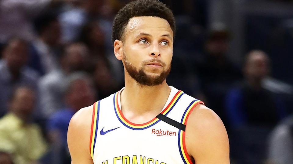 Steph Curry is pictured playing for the Golden State Warriors during the 2020 NBA season.