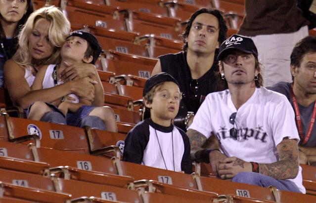 Pamela Anderson and Tommy Lee were on and off for many years. In August 2003, long after their divorce, they brought their sons to the X Games in Los Angeles. (Photo: J. Merritt/FilmMagic)