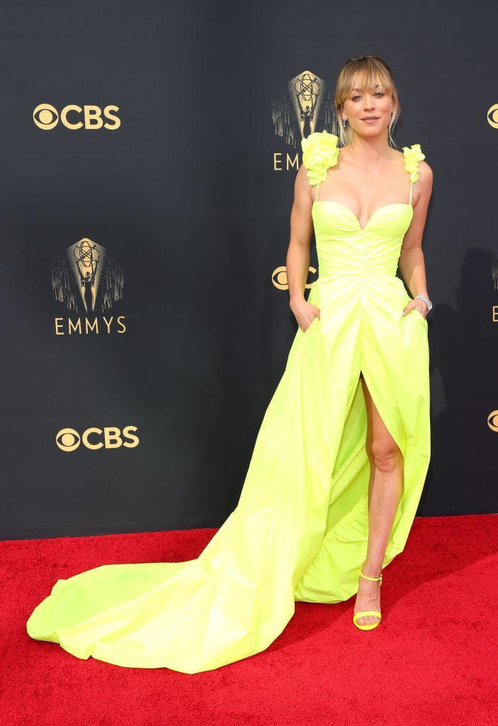 Kaley Cuoco on the red carpet in a highlighter yellow gown