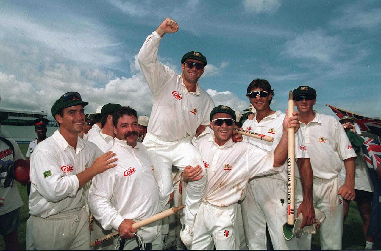 3 MAY 1995:  AUSTRALIAN SKIPPER MARK TAYLOR IS LIFTED BY HIS TEAM AFTER THEIR HISTORIC WIN OVER THE WEST INDIES IN THE FOURTH TEST CRICKET MATCH IN KINGSTON, JAMAICA. Mandatory Credit: Shaun Botterill/ALLSPORT