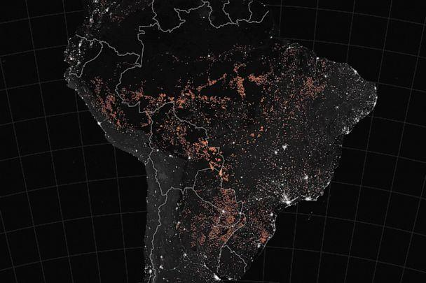 PHOTO:This handout NASA Earth Observatory map shows active fire detections in South America (including Brazil, Bolivia, Peru, Paraguay, Ecuador, Uruguay, northern Argentina and northwestern Colombia), between August 15-22, 2019. (Joshua Stevens/NASA/AFP/Getty Images)