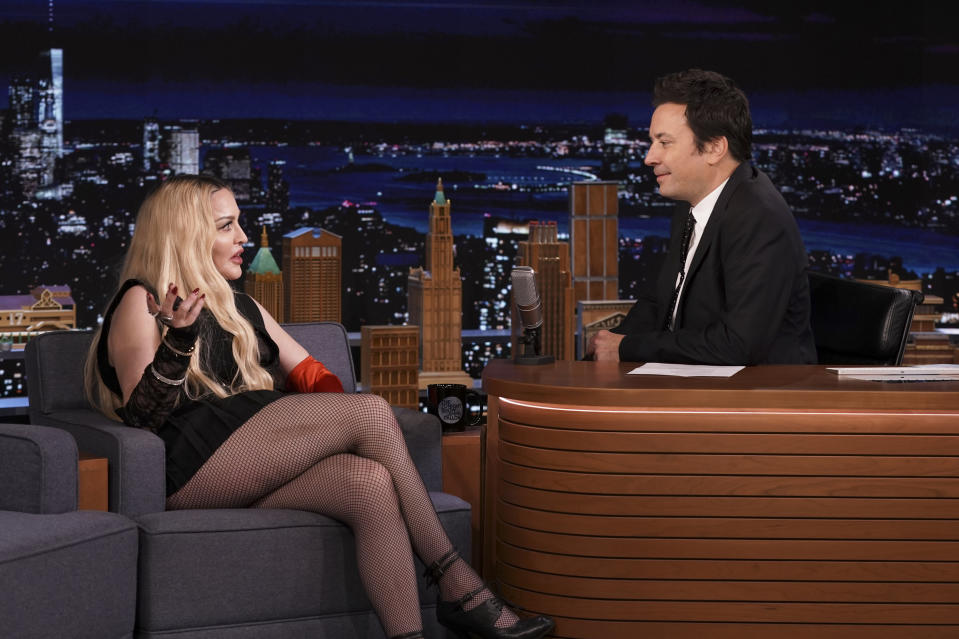 THE TONIGHT SHOW STARRING JIMMY FALLON -- Episode 1531 -- Pictured: (l-r) Singer Madonna during an interview with host Jimmy Fallon on Thursday, October 7, 2021 -- (Photo By: Sean Gallagher/NBC/NBCU Photo Bank via Getty Images)