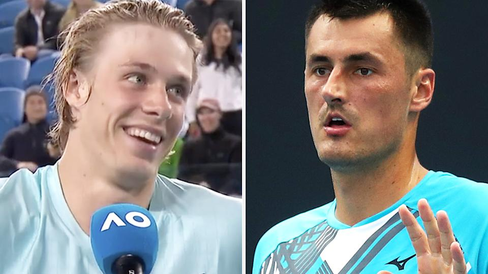 Denis Shapovalov had to awkwardly smile after the Australian Open crowd laughed when he said Bernard Tomic was 'no joke'. Pictures: Australian Open/Getty Images