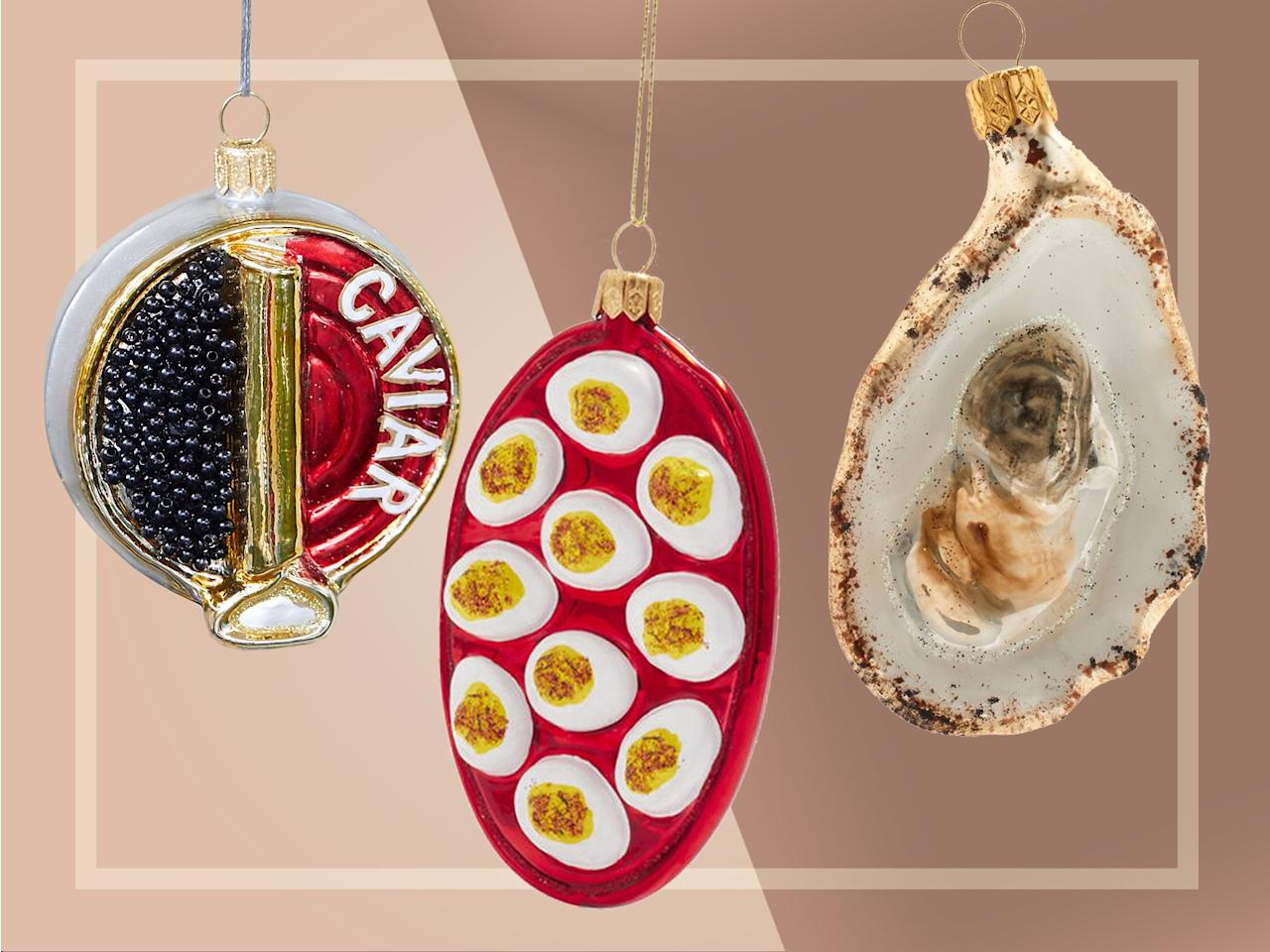 """<p>For the caviar enthusiast, Terrain has an ornament made to look like a tin filled to the brim with little black """"pearls."""" Other appetizer-adjacent designs include a platter of deviled eggs and an oyster from Sur La Table.</p>  <p>Caviar Tin Glass Ornament, $24 at <a href=""""http://www.anrdoezrs.net/links/7923151/type/dlg/sid/FW%2Cfood-ornaments-caviar-oyster-appetizers-ft-blog1119.jpg%2Cscrowder805%2C%2CIMA%2C1387702%2C201911%2CI/http://www.shopterrain.com/products/caviar-tin-glass-ornament"""" target=""""_blank"""">shopterrain.com</a></p> <p>Deviled Egg Glass Ornament, $22 at <a href=""""http://surlatable.aiy7.net/c/249354/635796/10190?subId1=FW%2Cfood-ornaments-caviar-oyster-appetizers-ft-blog1119.jpg%2Cscrowder805%2C%2CIMA%2C1387702%2C201911%2CI&u=http%3A%2F%2Fwww.surlatable.com%2Fdeviled-eggs-glass-ornament%2FPRO-3500451.html"""" target=""""_blank"""">surlatable.com</a></p> <p>Half Shell Oyster Glass Ornament, $13 at <a href=""""http://surlatable.aiy7.net/c/249354/635796/10190?subId1=FW%2Cfood-ornaments-caviar-oyster-appetizers-ft-blog1119.jpg%2Cscrowder805%2C%2CIMA%2C1387702%2C201911%2CI&u=http%3A%2F%2Fwww.surlatable.com%2Foyster-glass-ornament%2FPRO-3499878.html"""" target=""""_blank"""">surlatable.com</a></p>"""