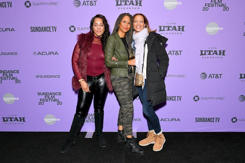 """Survivors Sherri Hines, Sil Lai Abrams, and Drew Dixon attend the 2020 Sundance Film Festival """"On The Record"""" Premiere at The Marc Theatre on January 25 in Park City, Utah. (Photo: Dia Dipasupil via Getty Images)"""