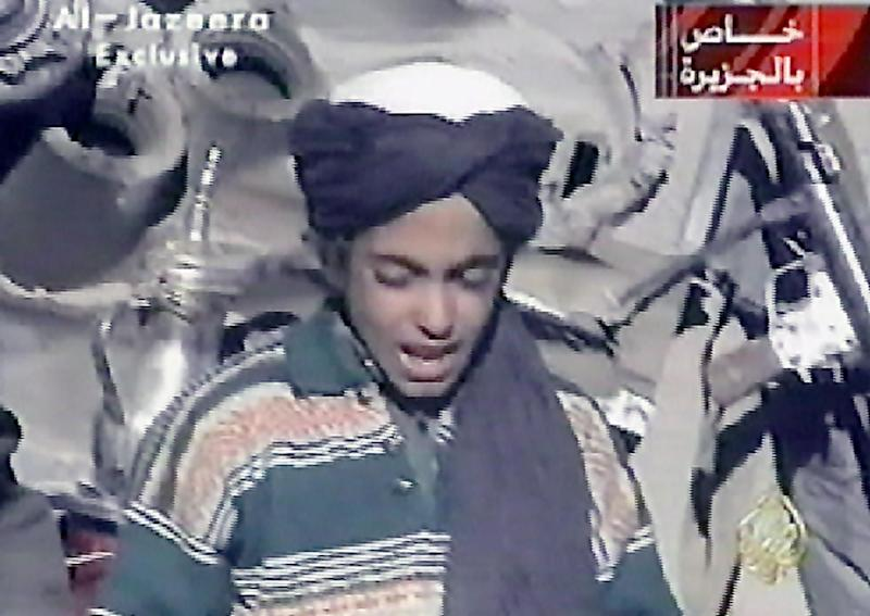 A video frame grab from Nov. 7, 2001, shows Hamza bin Laden, the youngest son of Saudi born Osama bin Laden.