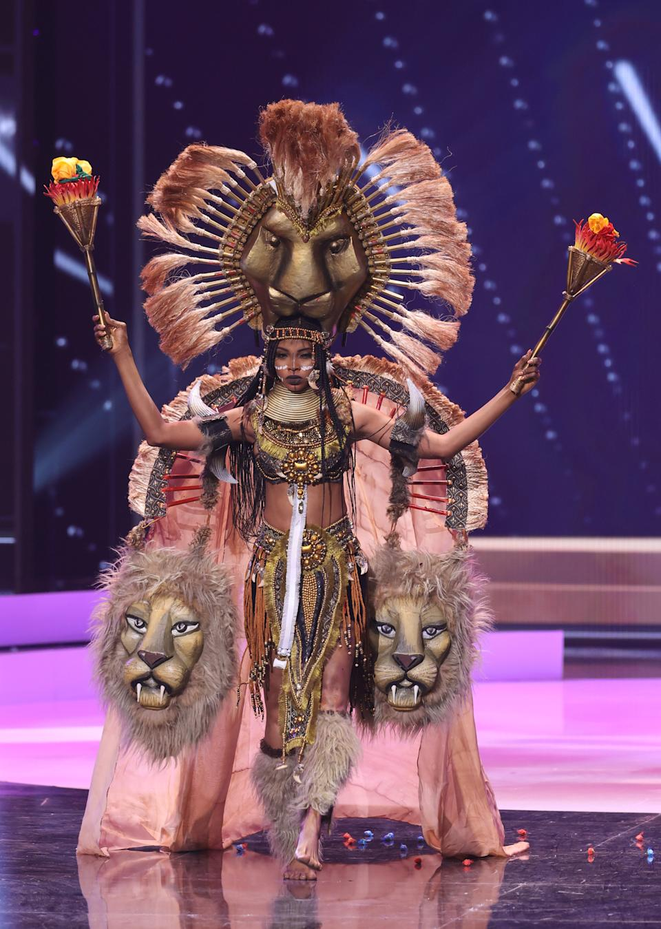 <p>Miss Cameroon Angele Kossinda appears onstage at the Miss Universe 2021 - National Costume Show at Seminole Hard Rock Hotel & Casino on May 13, 2021 in Hollywood, Florida. (Photo by Rodrigo Varela/Getty Images)</p>