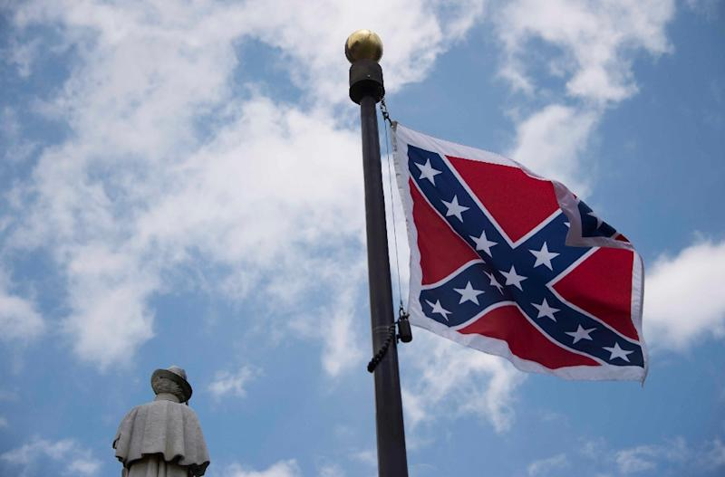 The confederate flag in South Carolina, pictured in June 2015, was removed from the state's legislature on July 10, 2015 (AFP Photo/Jim Watson)
