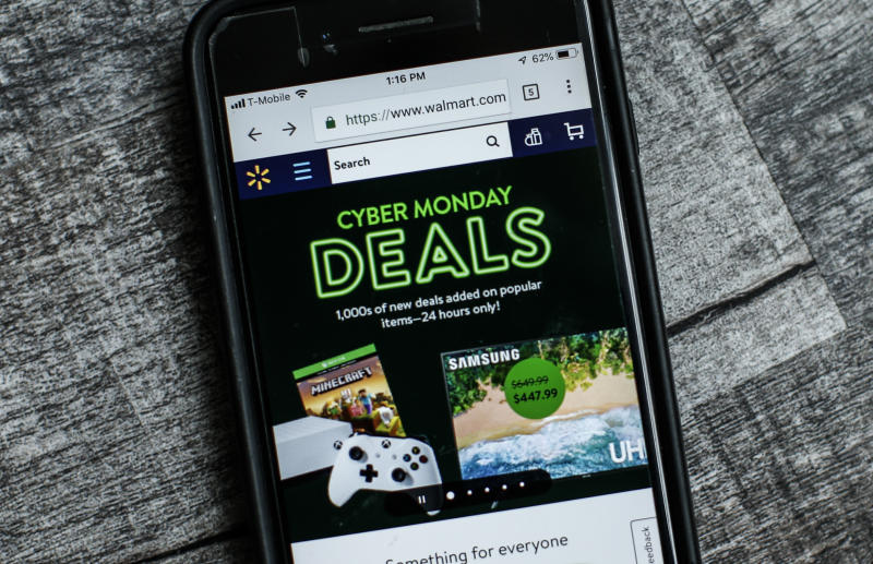 GUTTENBERG, NJ - NOVEMBER 26: In this photo illustration, Amazon advertises Cyber Monday sales on its company websites on November 26, 2018 in Guttenberg, New Jersey. Americans expect are expecting to spend $6.6 million on Cyber Monday deals. (Photo Illustration by Kena Betancur/VIEWpress/Corbis via Getty Images)