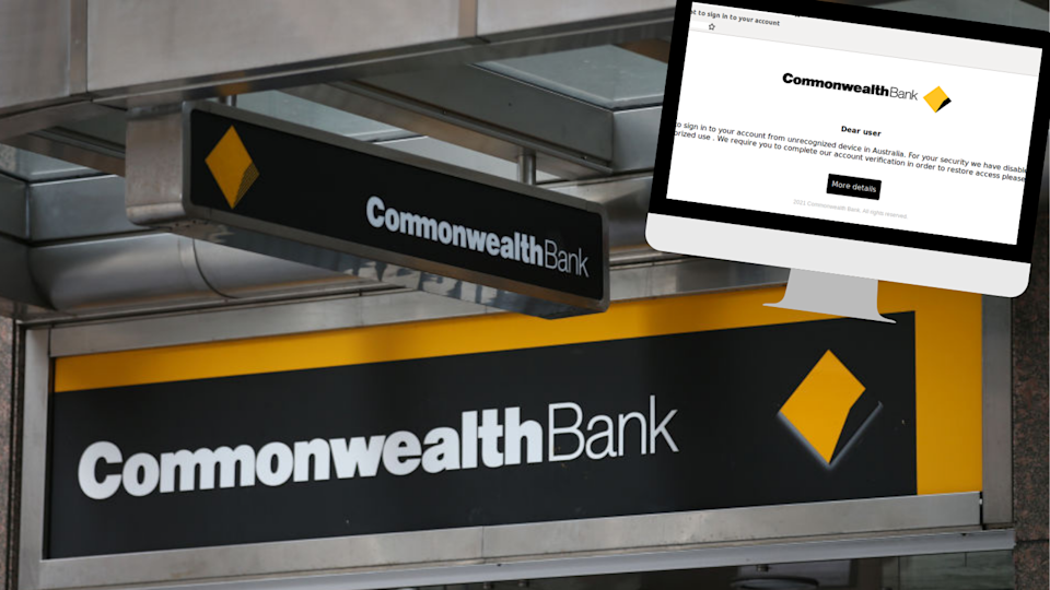 Image of Commonwealth branch logo and small screenshot of scam email in corner