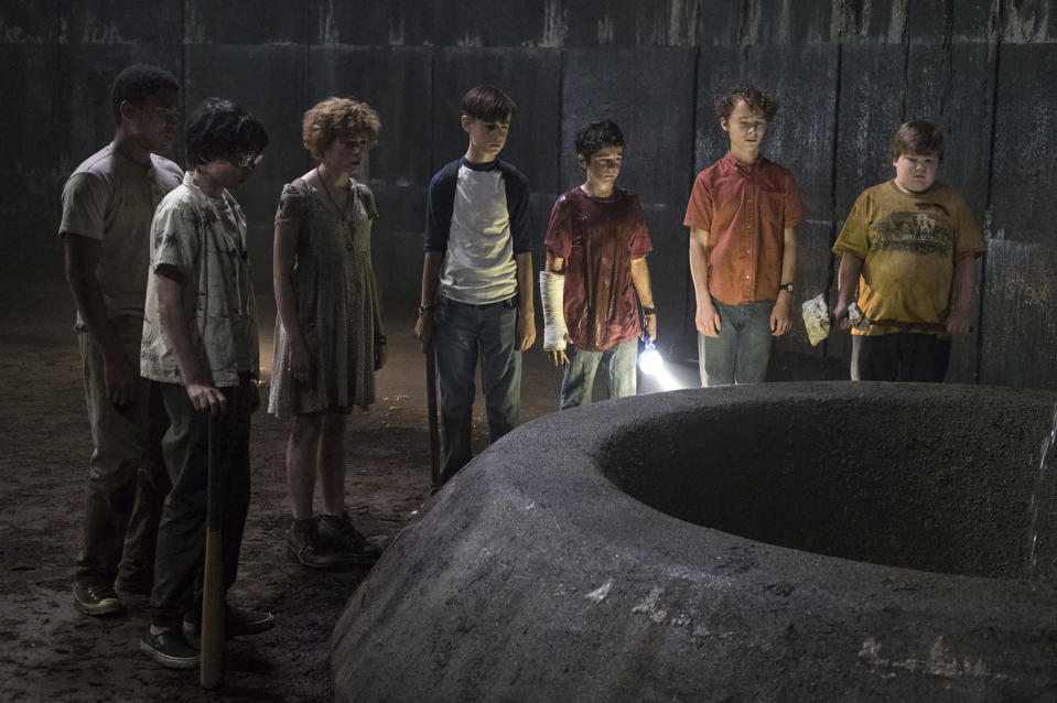 The Losers Club in Pennywise's lair. (Warner Bros.)
