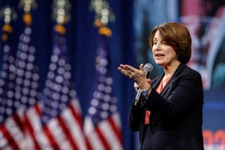 U.S. Democratic presidential candidate, Sen. Amy Klobuchar (D-MN) responds to a question during a forum held by gun safety organizations the Giffords group and March For Our Lives in Las Vegas