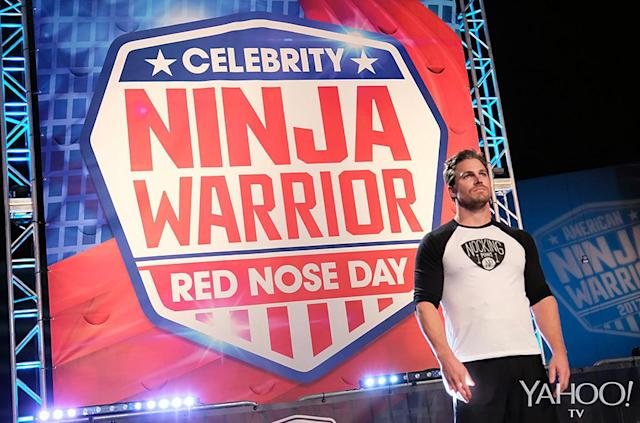 <p>Amell, who's been as big a fan of <em>American Ninja Warrior</em> as we've been of watching the workout videos he's posted throughout his run on<em> Arrow</em>, competes against <em>World of Dance</em>'s Derek Hough, <em>Parenthood</em>'s Erika Christensen,<em> Today</em>'s Natalie Morales, <em>American Beauty</em>'s Mena Suvari, comic Nikki Glaser, <em>Better Late Than Never</em>'s Jeff Dye, former Yankees outfielder Nick Swisher, and two-time Olympic gold medal-winning decathlete Ashton Eaton.<br><br>(Photo: Tyler Golden/NBC) </p>